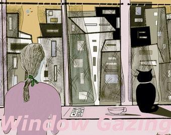 illustration-window-art-printwall-4illustrationlovers-Window Illustration- modern art print-Illustration Gift