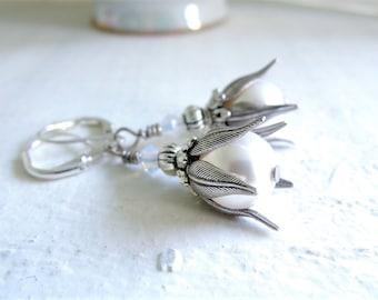Moonlight Rose Earrings Silver and White Pearl Earrings Romantic Wedding Jewelry Silver Earrings Pearl Dangles Floral Inspired Earrings