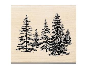 Stand Of Pines Wood Rubber Stamp Inkadinkado