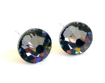 Crystal Silver Night studs, 7mm gray Swarovski post earrings, 7mm grey studs