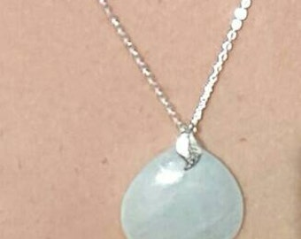 """Blue Amazonite Drop on 18"""" , Sterling Silver Necklace, stamped .925 # 237"""