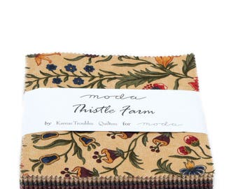 """Moda Charm pack THISTLE FARM from  Kansas Troubles Quilters 42 5"""" squares cotton fabric PRAIRIE 9530Pp"""