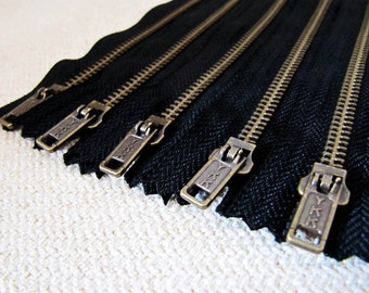 6inch - Black Metal Zipper - Brass Teeth - 5pcs