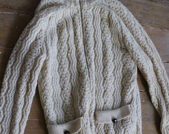 Vintage wool fisherman sweater - made in ireland
