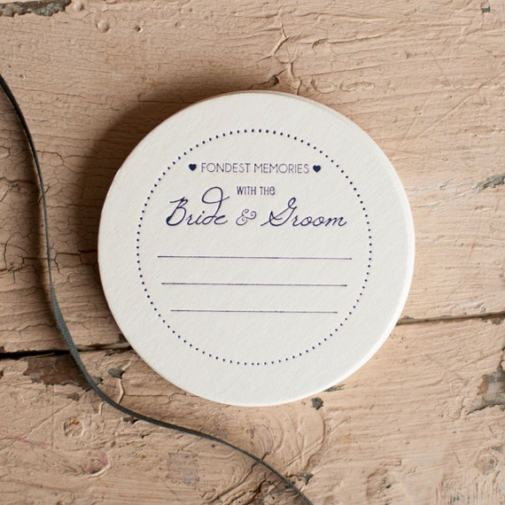 Wedding  Coasters - newlyweds, bride and groom, ivory and navy,  weddings, coasters, favors, bridal shower, bridal favors, set of 50