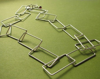 Rectangulation: Sterling Silber handgefertigte rechteckigen Link Chokerhalskette