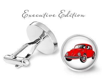 Car Cufflinks - Red VW Bug Cufflinks - Beetle Cufflink - Classic Cuff Links For Men (Pair) Lifetime Guarantee (S0262)