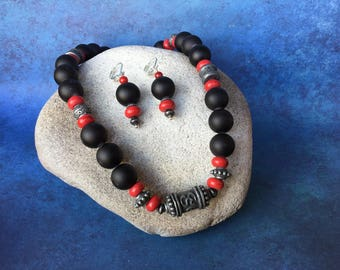 Be Bold~ Black, Red, and Gun Metal Accented Set