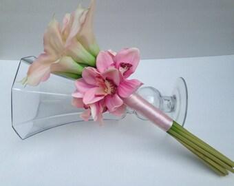 GARDEN WEDDING BOUQUET-Blush Pink-Pastel Bouquet- Lily Bouquet- Orchid Bouquet- Beach Wedding -Wedding Flowers-