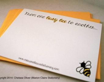 Mignon Notecards - Busy Bee Notecards - Bumblebee