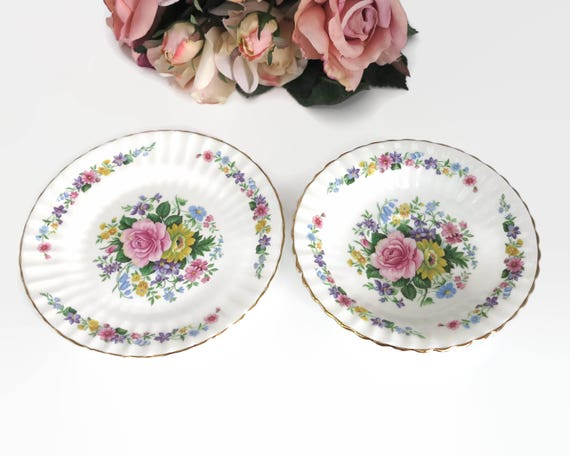 Vintage floral dish and plate, Grosvenor bone china, fluted edges, gilt trim, multi colored, made in England, circa 1940s