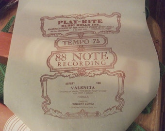 Player Piano Music Roll on Original Scroll in Original Box / Vintage Paper