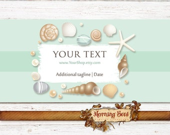 Sea shell soap labels - Custom soap label template - 2 x 11 inch - Candle band Beach Soap wrapper