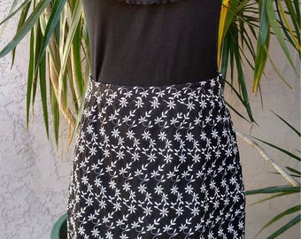 90's Esprit black skirt, floral mini, small white flowers, stretch waist, cotton, fitted