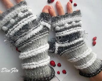 Women L 20% OFF Ready To Ship Gloves Bohemian Accessories Boho Hand Knitted Fingerless Mittens Warm Wrist Warmers Crochet Winter Striped 974