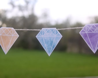 Gem Printable Bunting Flags or Cake Toppers in Natural Watercolours