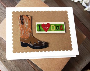 Handmade Father's Day Card, I Love My Dad, Western Theme, Cowboy Boot, Bandana, Craft Paper, Blank Inside, Free US Shipping, Unique
