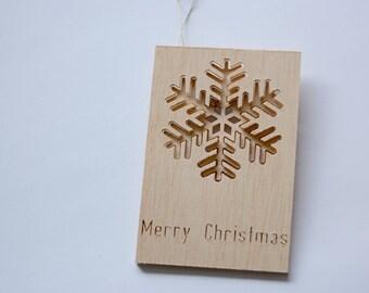 Wooden Christmas Card with  ornament, Snowflake, handmade, Custom, Personalized Christmas tree decor, Wood ornament, Wood Xmas decor