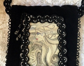 Black Velvet Evening Bag* Handmade*Georgous Fairy Mermaid with Glittering Silver Flowing Hair*Wedding, Cocktail, Party, Handbag, Clutch