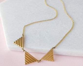 Triangle Necklace - Geometric Necklace - Vintage Brass Chain - Banderole Necklace (SD300)