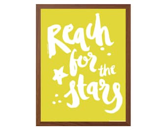 POSITIVE  | Reach For The Stars Poster : Modern IllustrationArt Wall Decor Print 8x10 | INSTANT Digital Download Printable