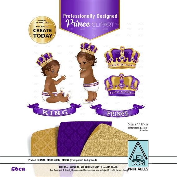 Purple And Gold Baby Prince/King Royal Digital Clipart