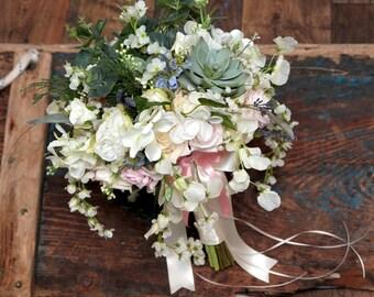 Wedding artificial silk/foam mixed wild large bride bouquet