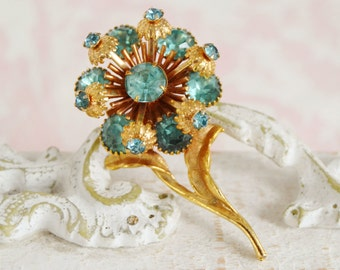 Vintage Gold Flower Brooch with Aqua Blue Rhinestones