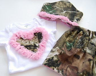 HandMade from Realtree Mossy Oak Baby Girl Camo Outfit. Pink Heart. Pink Camo scarf headband  Redneck baby shower. Cake smash outfit