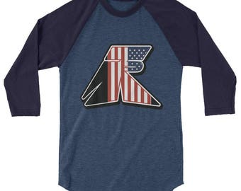 TR Troop Rising RWB Old Glory Edition 3/4 sleeve raglan shirt