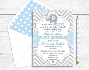 Elephant Baby Shower Invitation, Elephant Printable Party Invitation, Grey Light Blue Chevron Polkadots Shower, Elephant Party Supplies