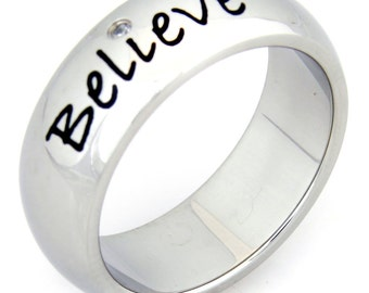 Believe Inspirational Ring With Cubic Zirconia