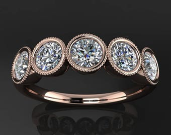 chloe ring – 1 carat NEO moissanite 5 stone band, moissanite anniversary ring