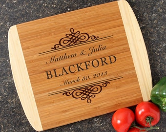 Personalized Wedding Gift Personalized Cutting Board Custom Engraved Cutting Board Bamboo Cutting Boards Housewarming Gift-14 x 11 D14