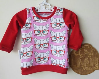 Hipster cats long sleeve tee; size 0-3mths