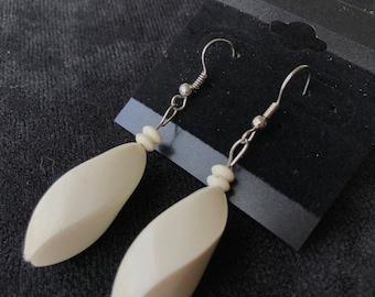 White Twisted Rectangular Earrings