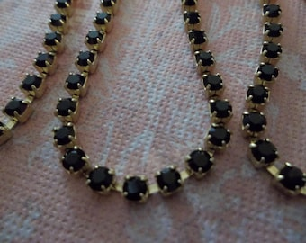 3mm Black Rhinestone Chain - Brass Setting - Jet Black Preciosa Czech Crystals