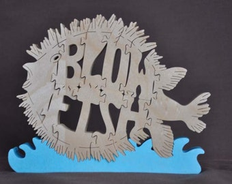 Blow Fish Puffer  Wood Puzzle Hand Cut with Scroll Saw Blowfish Toy