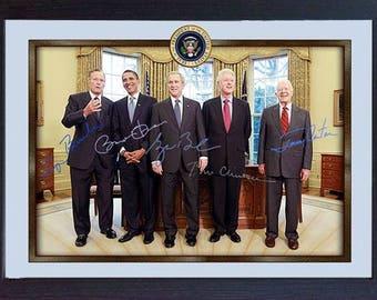 Barack Obama George HW Bush George W. Bush Bill Clinton Jimmy Carter signed autograph Framed
