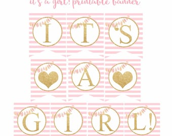 Pink and Gold Baby Shower banner, It's a girl! banner, Baby Shower Banner, pink and gold printable banner, Digital File.
