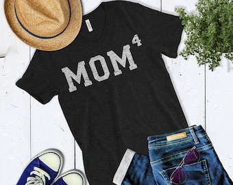 Cute Mom4 T Shirt Mom of Four Mother Of 4 T Shirt Christmas Gift For Mom Pregnancy Announcement Shirt