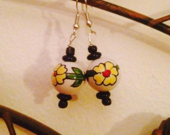 Red and yellow floral ceramic beaded earrings