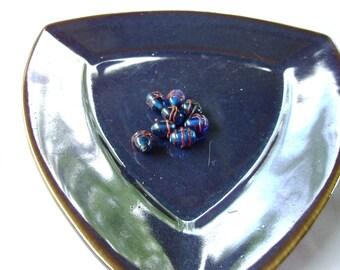 Five Fancy Striped Glass Beads in Blue