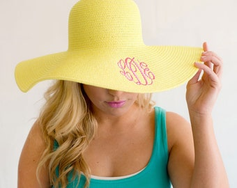 Yellow Floppy Hat with Monogram for Women
