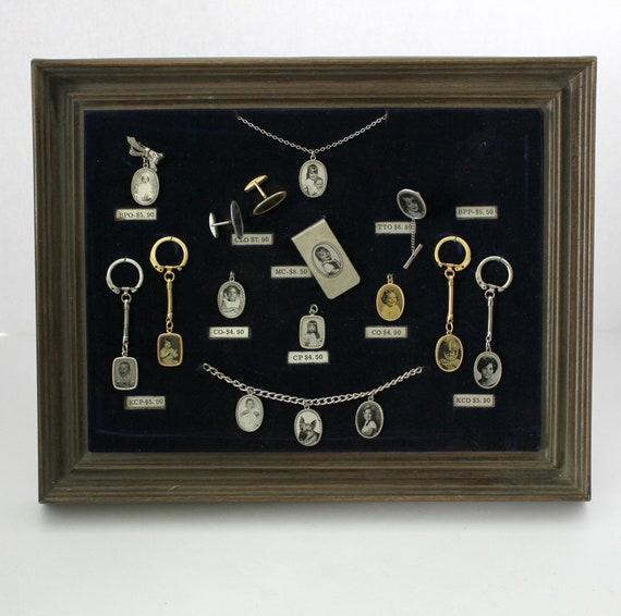 Vintage Salesman Counter Display Custom Photo Charms, Necklace, Keychains, Cufflinks, Pendant, Tie Clip, Money Clip, Vintage 1960s
