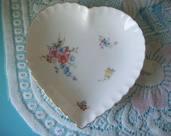 Bone China Floral Heart Dish, trinket dish, candy dish, Made in Japan, pink, blue, lavender, yellow, heart dish, flowers, gold trim, gift
