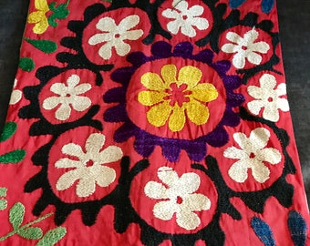 Hand Embroidered Central Asian Pillow Case.