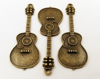 2 Antique Bronze Guitar Pendants Jewelry Findings ABGP50MM-2WD3