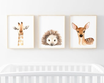 Watercolor Animal Nursery Printable Wall Art, Set of 3, Neutral Nursery Decor Gift, Giraffe, Hedgehog, Deer, Instant Print, Digital Download
