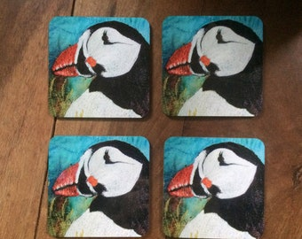 Puffin coasters ~ bird coasters ~ nature coasters ~ Puffin print  ~ puffin gift ~ Puffin home decor